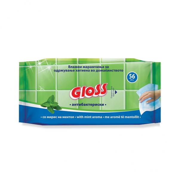 Gloss Антибактериски влажни марамици со ментол 56 парчиња